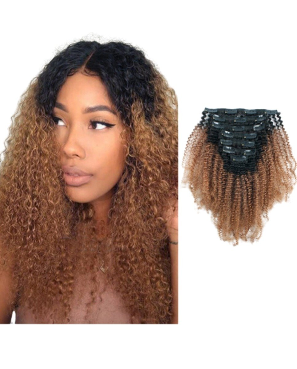 1b30 Ombre Afro Curly Clip In Hair Extensions