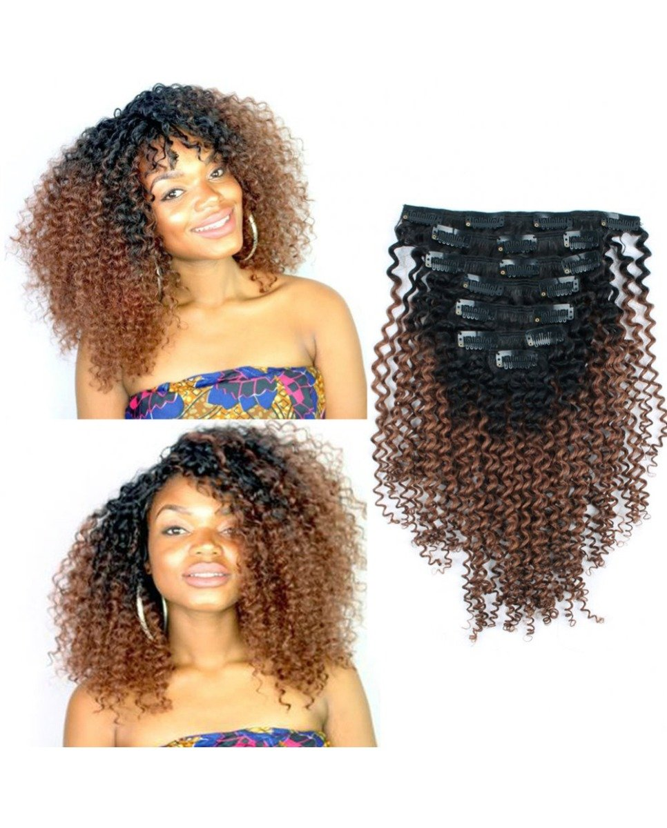 1b30 Ombre Kinky Curly Clip In Hair Extensions