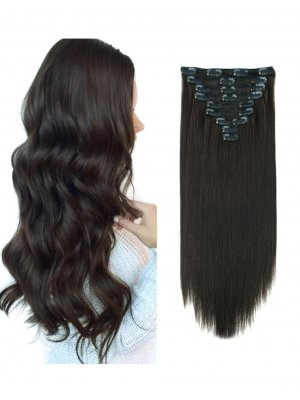 220g Clip In Hair Extensions #1B Off Black