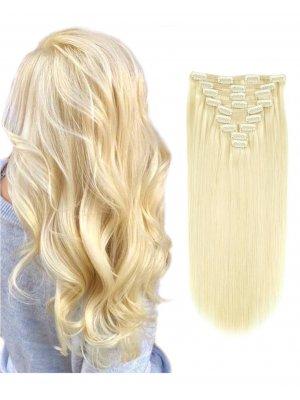 220g Clip In Extensions #613 Bleach Blonde