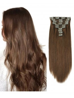 220g Clip In Extensions #4 Reddish Brown