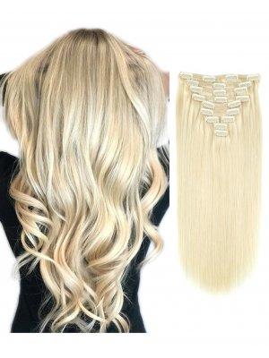 220g Clip In Extensions #60 Platinum Blonde