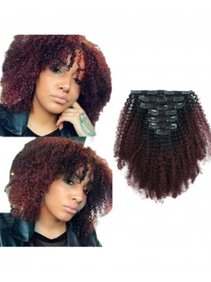 Ombre 1B/99J# Afro Curly Clip In Extensions