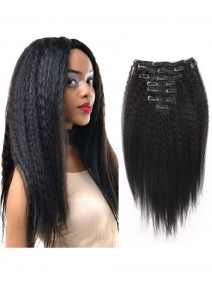 Kinky Straight Clip In Hair Extensions