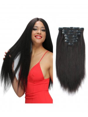 Light Yaki Straight Clip In Hair Extensions