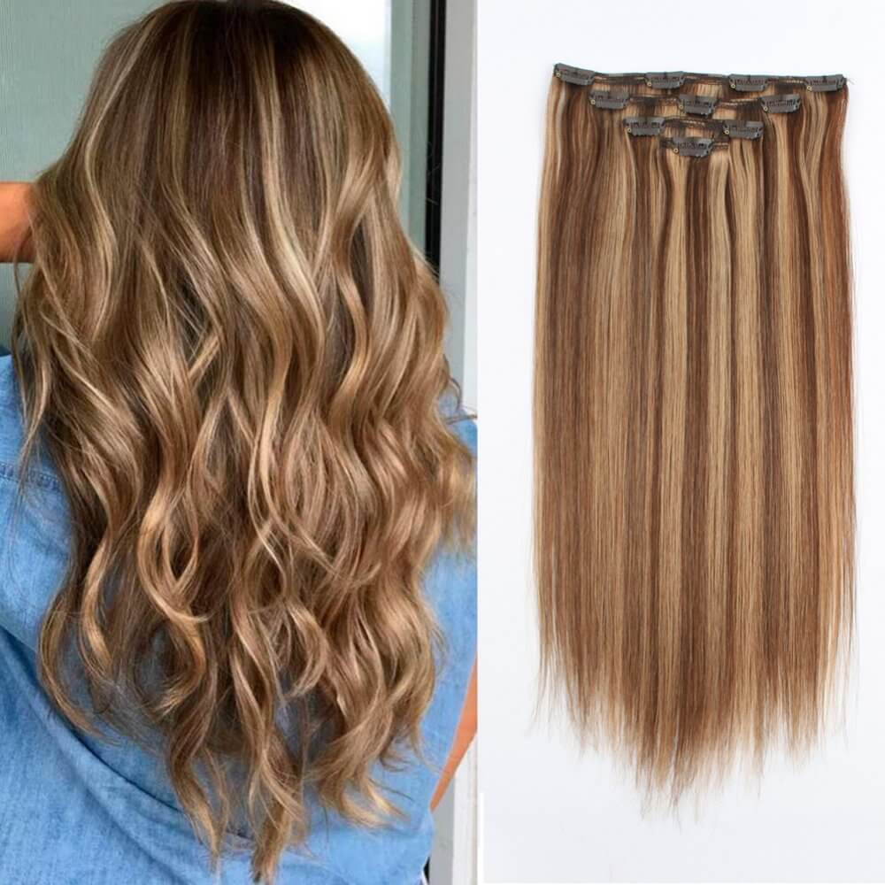 70g 80g Highlighted 4 27 Silky Straight Clip In Hair Extensions